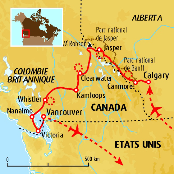 Carte Canada Les Rocheuses.A Travers Les Rocheuses