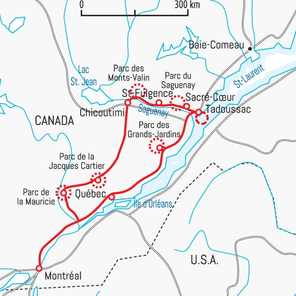 Carte Canada Chicoutimi.La Tournee Des Parcs Du Quebec