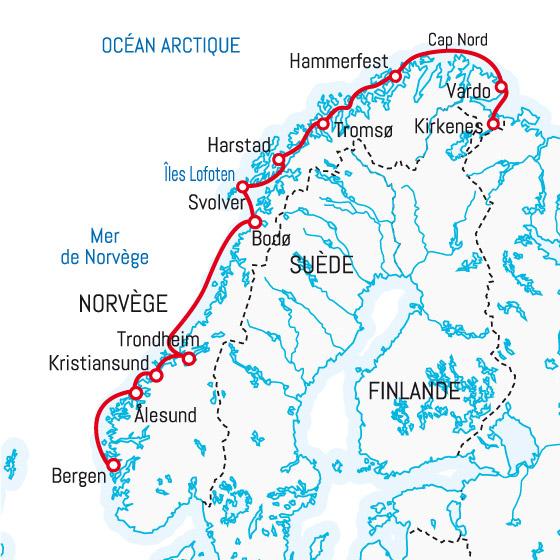 Carte Norvege Cap Nord.Express Cotier Du Sud Vers Le Nord